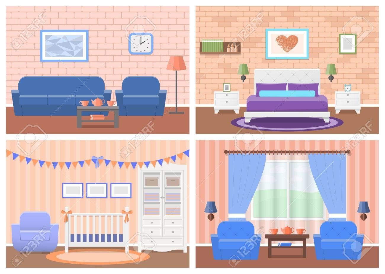 Habitaciones Interiores. Vector Muebles. Sala De Estar, Dormitorio ...