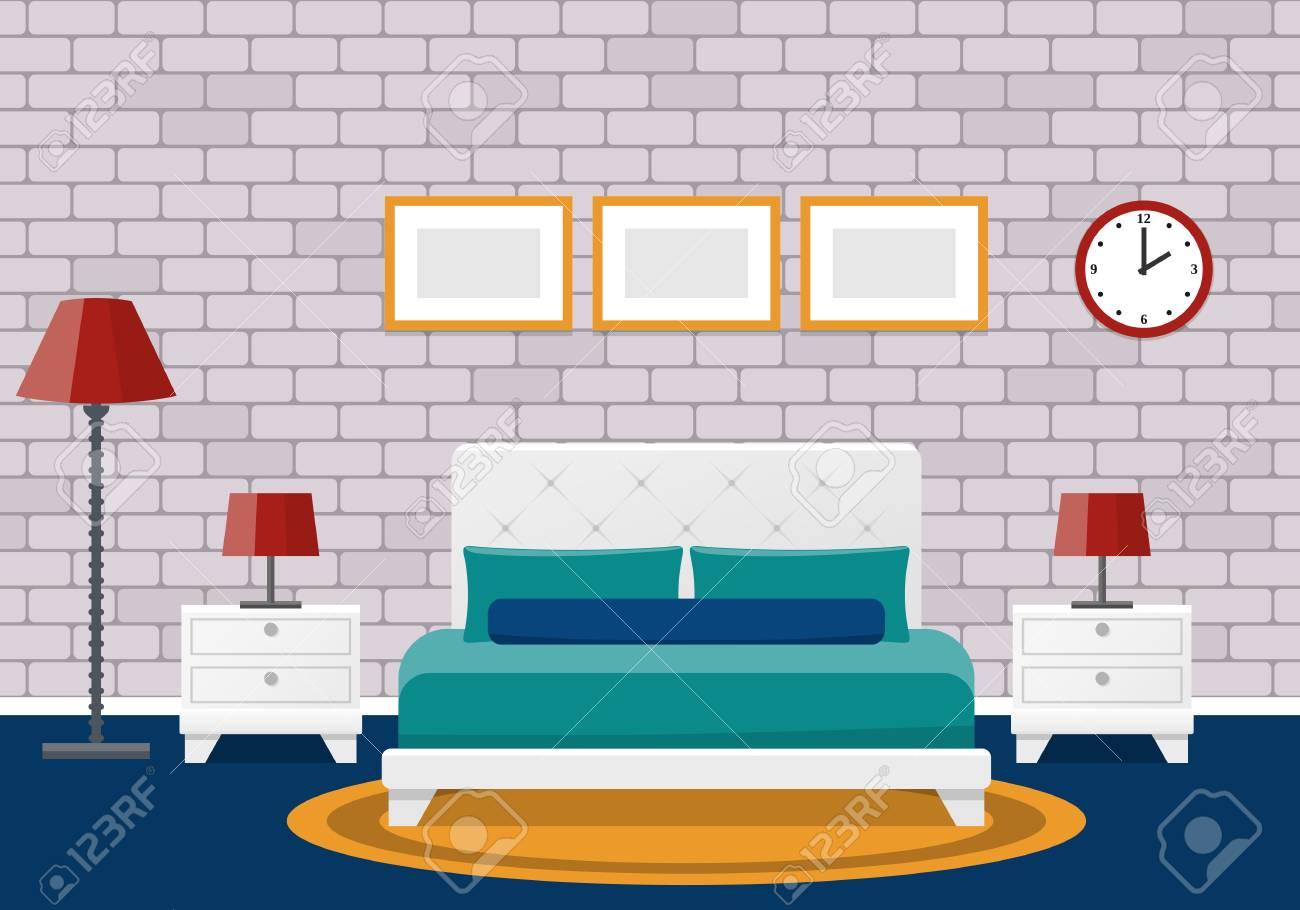 Room Interior Hotel Bedroom Design With Furniture Vector Flat Illustration Cartoon