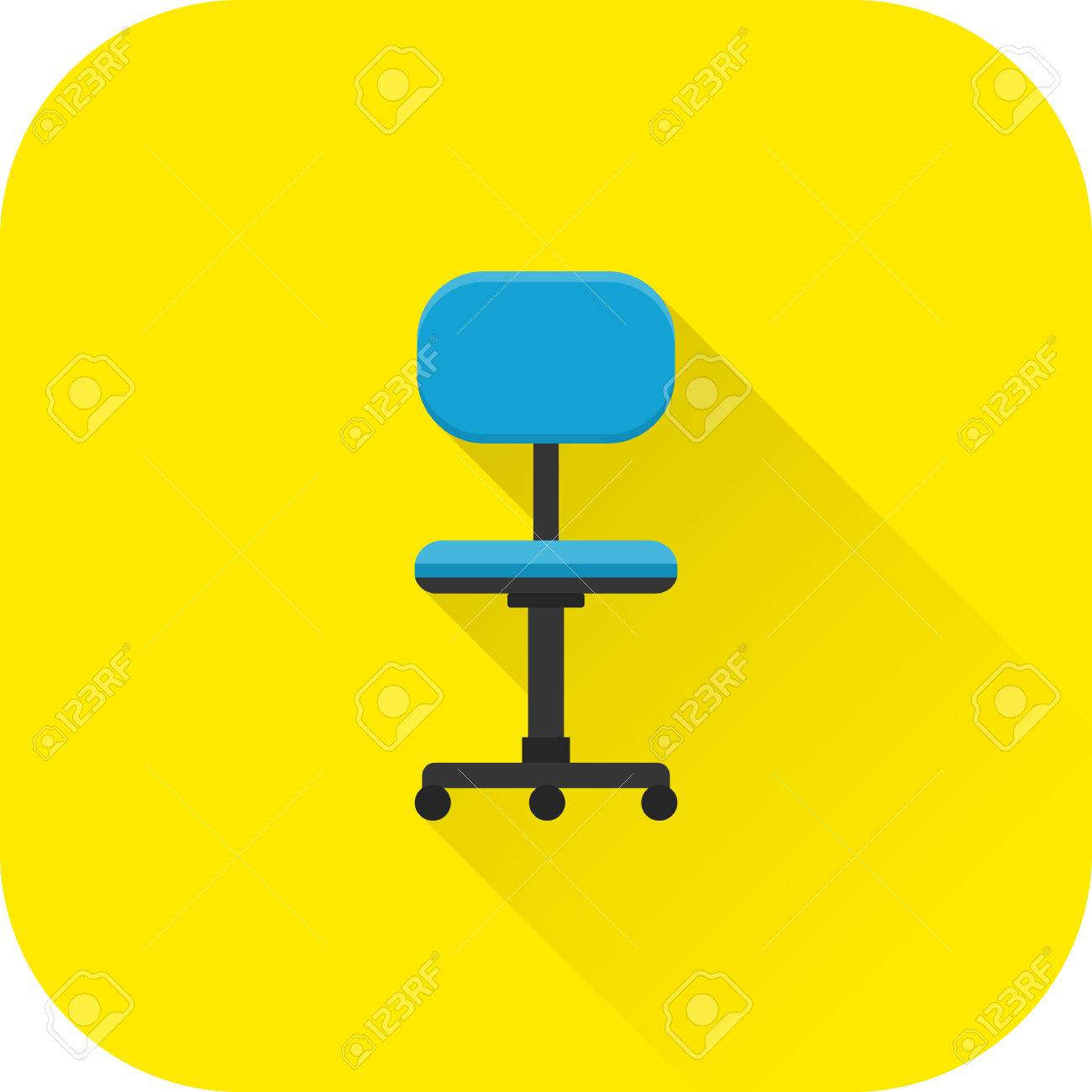 Chair Icon. Flat Design With Long Shadow. Office Blue Armchair Isolated On  Yellow Background