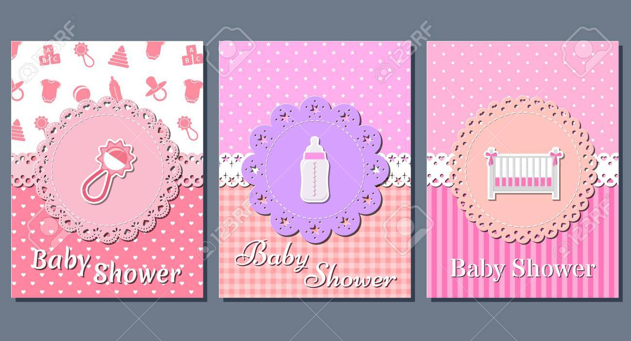 Baby Girl Shower Cards Set Cute Invitation Templates For Baby