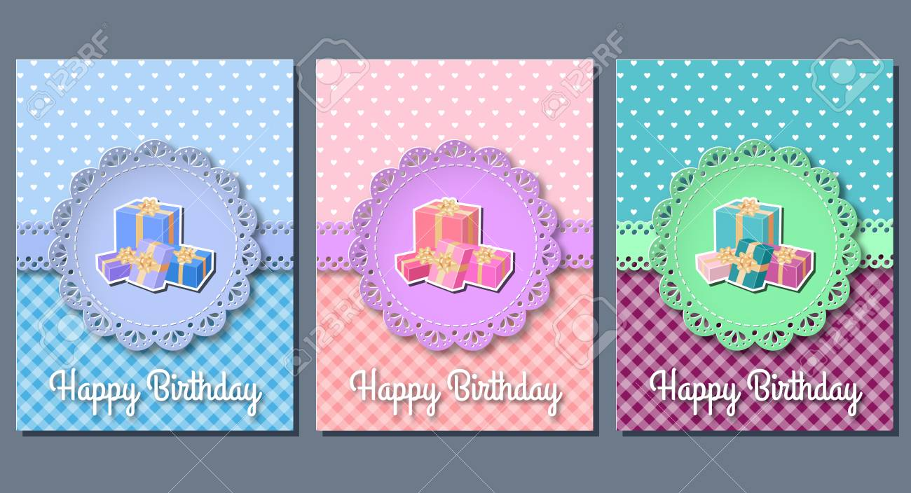 Happy birthday greeting cards with gift boxes set of holiday happy birthday greeting cards with gift boxes set of holiday templates vector illustration m4hsunfo