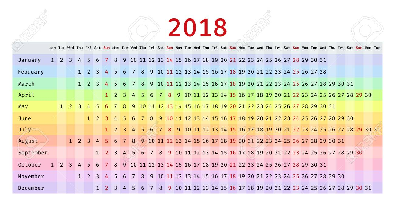 2018 calendar in linear design vector colorful stationery template yearly calendar organizer