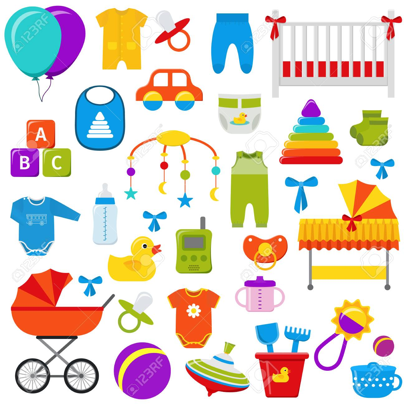 Baby toys vector graphics baby shower elements set kids icons baby toys vector graphics baby shower elements set kids icons collection symbols in buycottarizona Gallery