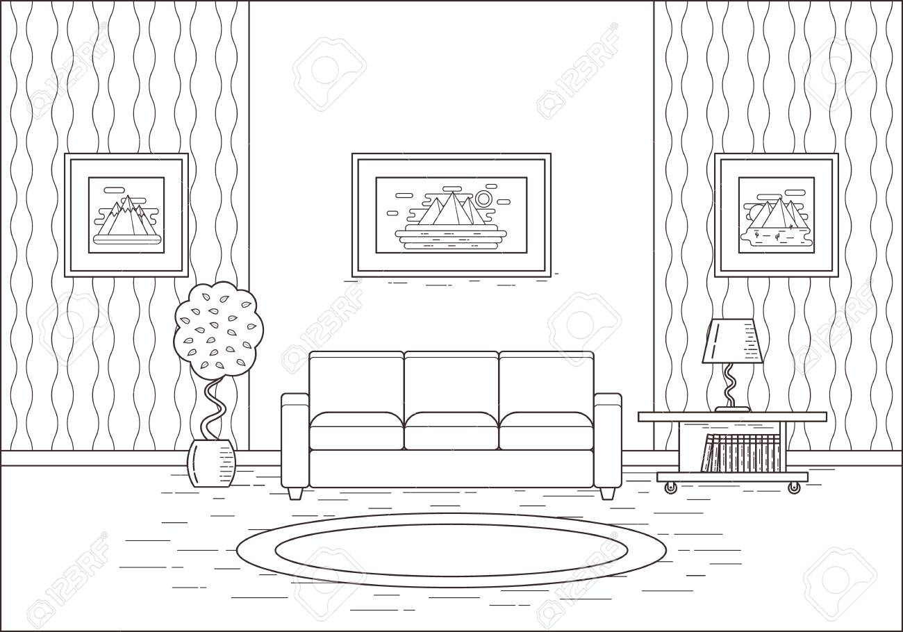 Living Room Interior. Linear Room In Flat Design. Vector Illustration. Line  Art.