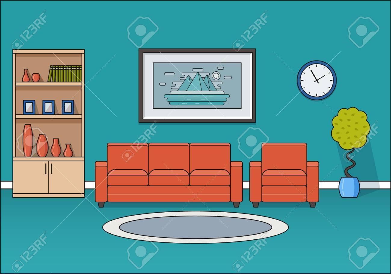 Illustration Vectorielle De Ligne Art. Espace à La Maison Avec Le Sofa Et  Le Fauteuil. Mobilier De Dessin Animé. Équipement De La Maison.