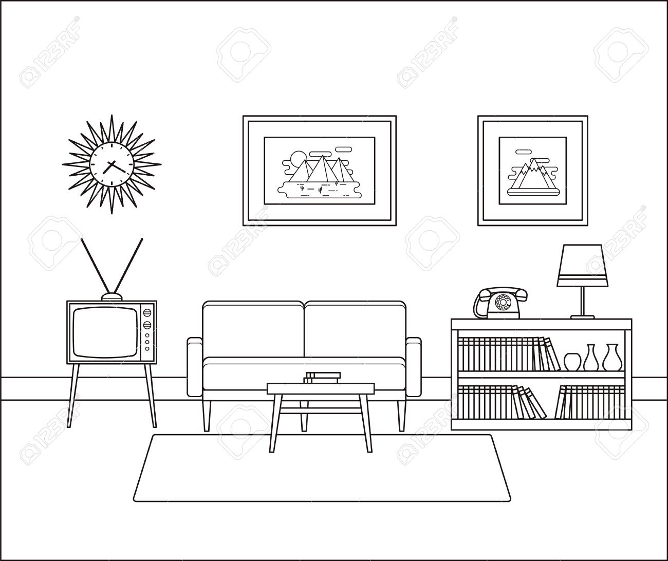Linear Room Interior. Retro Living Room In Line Art. Vector Illustration.  Outline Sketch