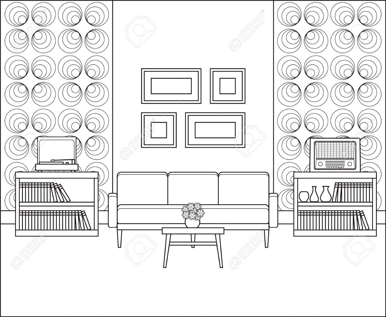 Room In Line Art. Retro Living Room Interior 1960s. Linear ...