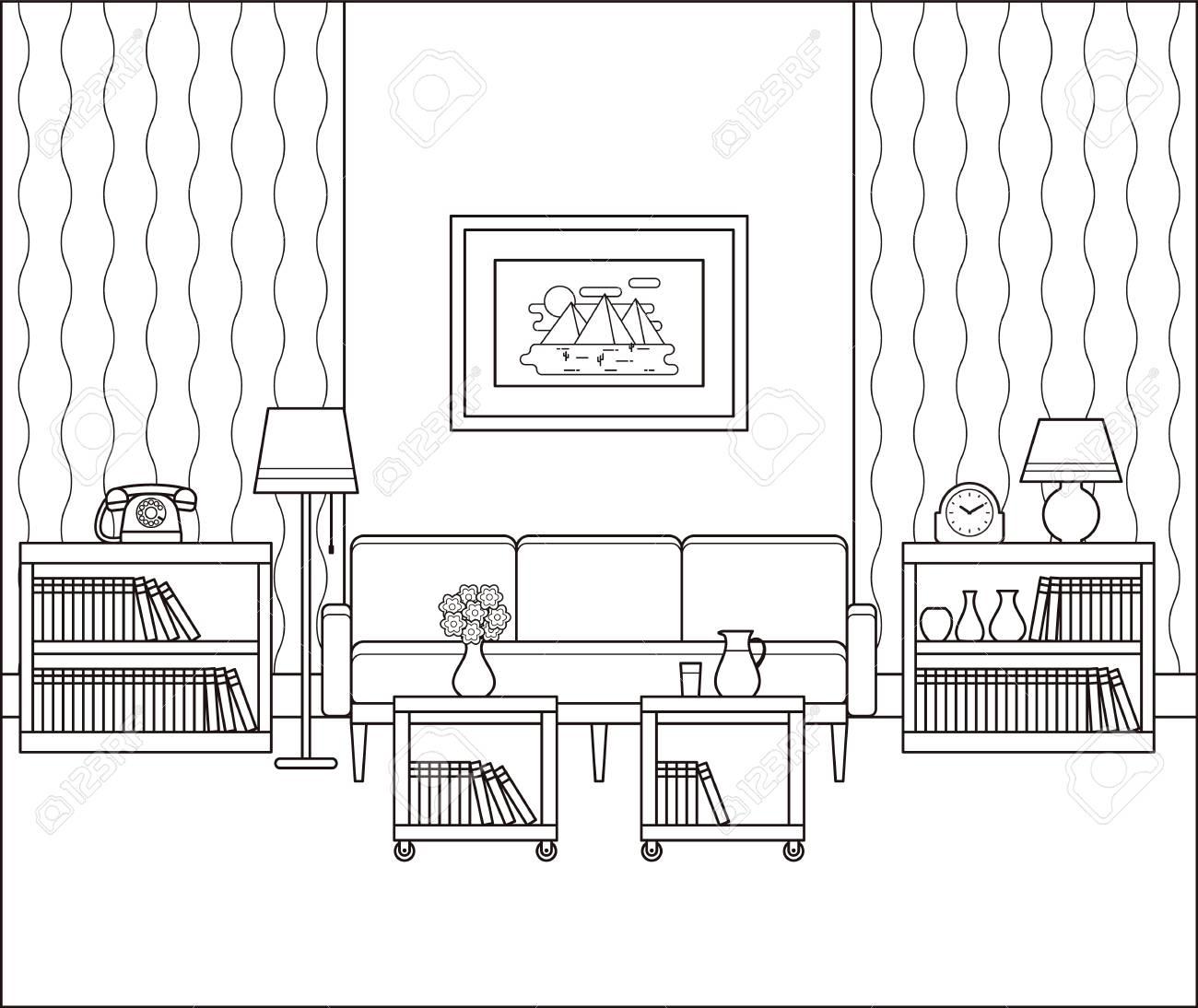 Living Room Interior Sketch Retro Room In Line Art Vector