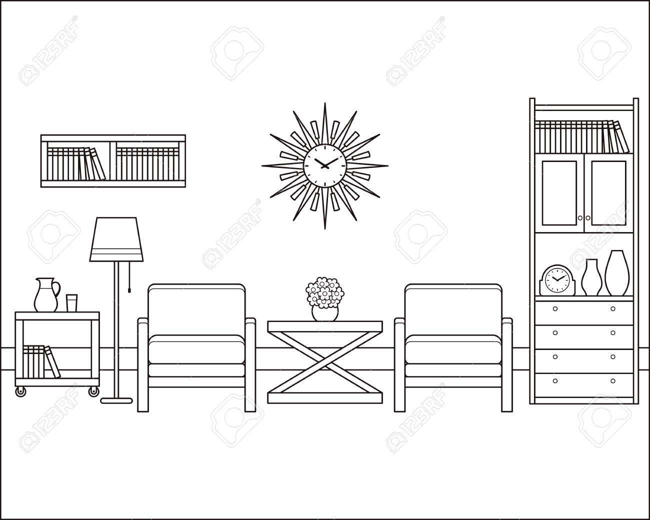 Room Interior Outline Sketch. Retro Living Room In Flat Design ...