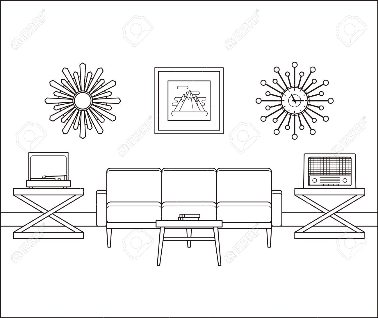Living Room Interior In Line Art. Retro Room Flat Design. Vector ...