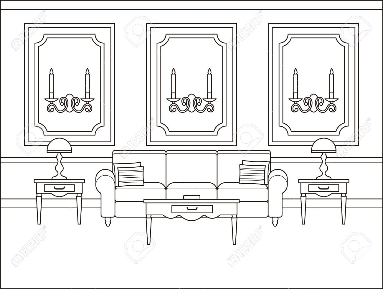 Living Room Interior, Linear Room Vector. Outline Background ...