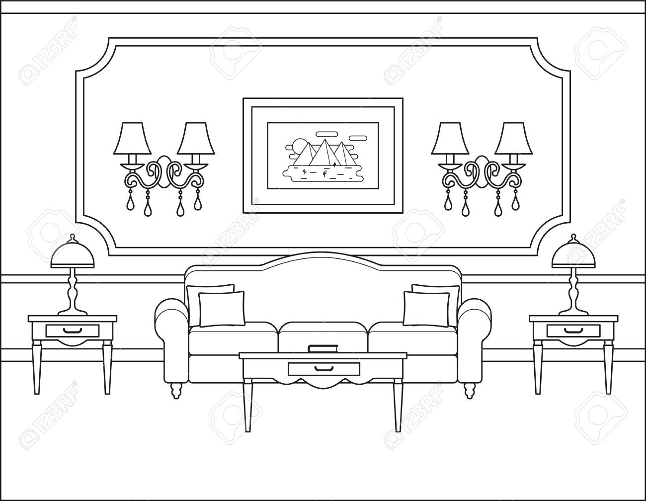 Room Interior Vector Linear Living Room Coloring Page Black