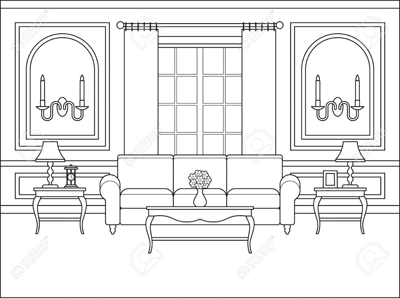 Room Interior Vector Linear Living Room Coloring Page Black Royalty Free Cliparts Vectors And Stock Illustration Image 95570773