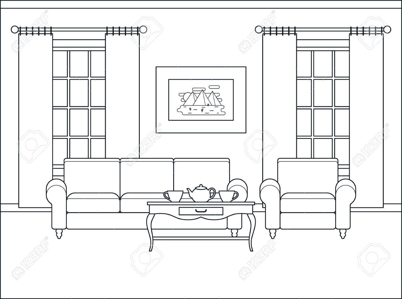 Vector Living Room. Outline Sketch In Classic Style. Coloring Page. Linear  Contour Background. Cartoon Black White Illustration In Line Art.