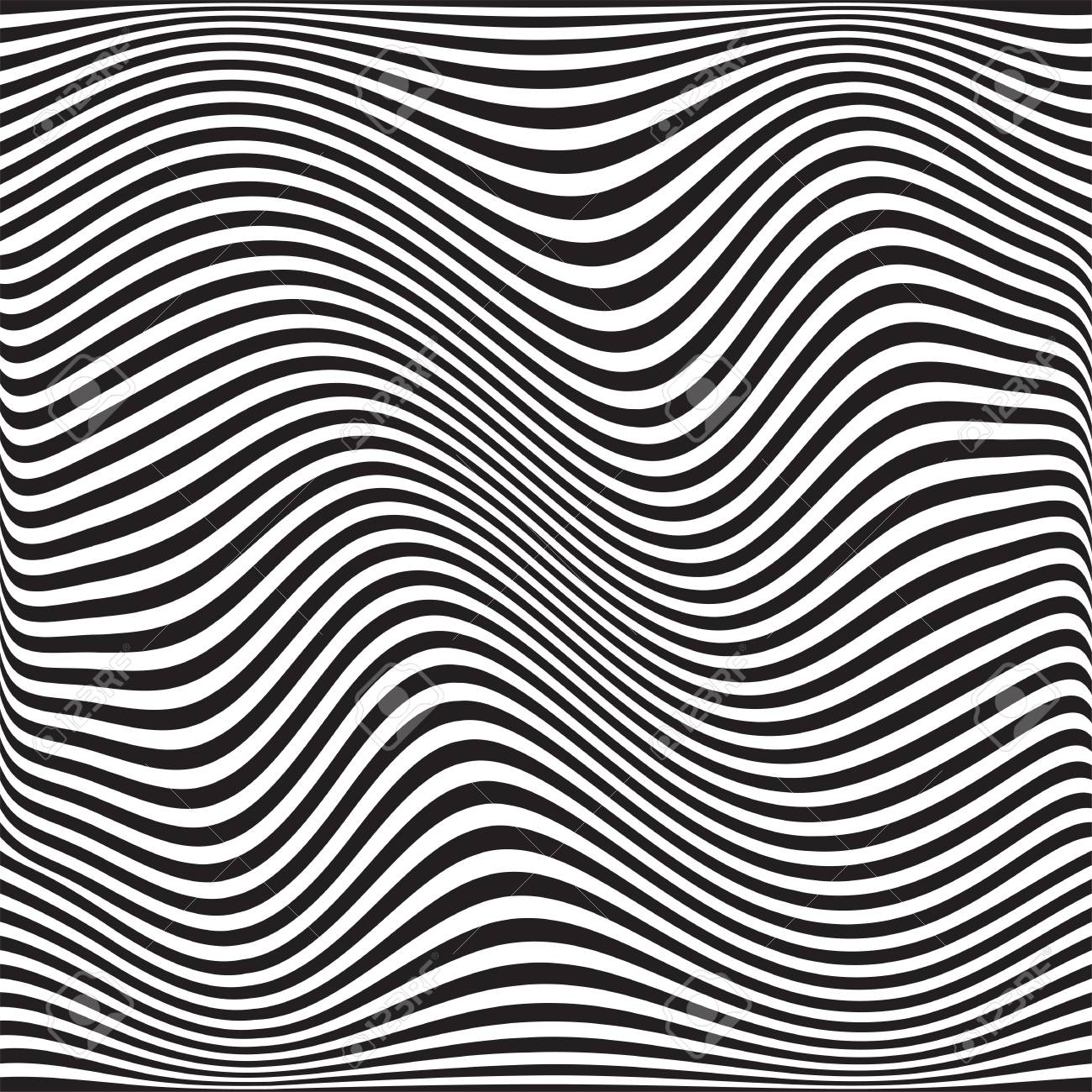 Wavy Geometric Pattern Vector Abstract Black White Background