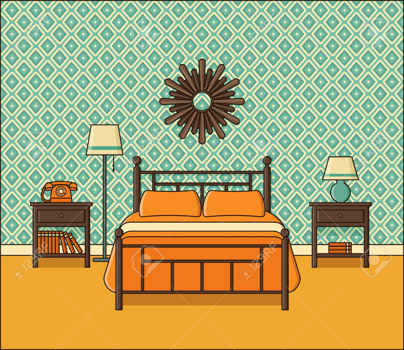 Bedroom interior. Vector. Hotel room in flat design. Retro home..