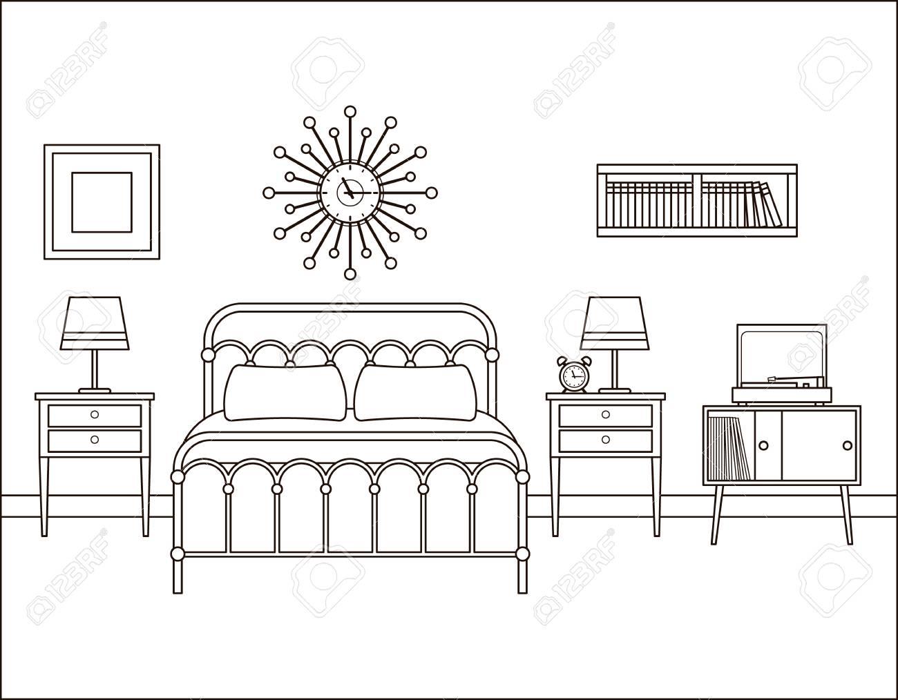 Bedroom Interior. Hotel Retro Room With Bed. Vector. Home Space ...