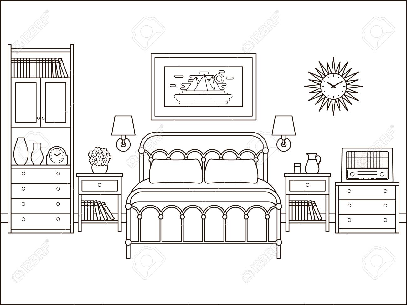Bedroom Retro Interior. Hotel Room With Bed. Vector. House Flat ...