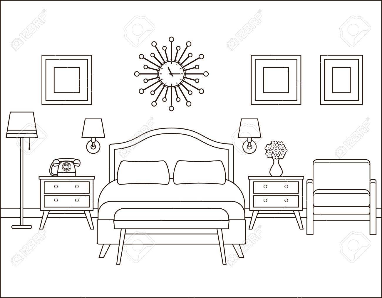 Room Interior Hotel Bedroom With Bed Vector Linear Illustration