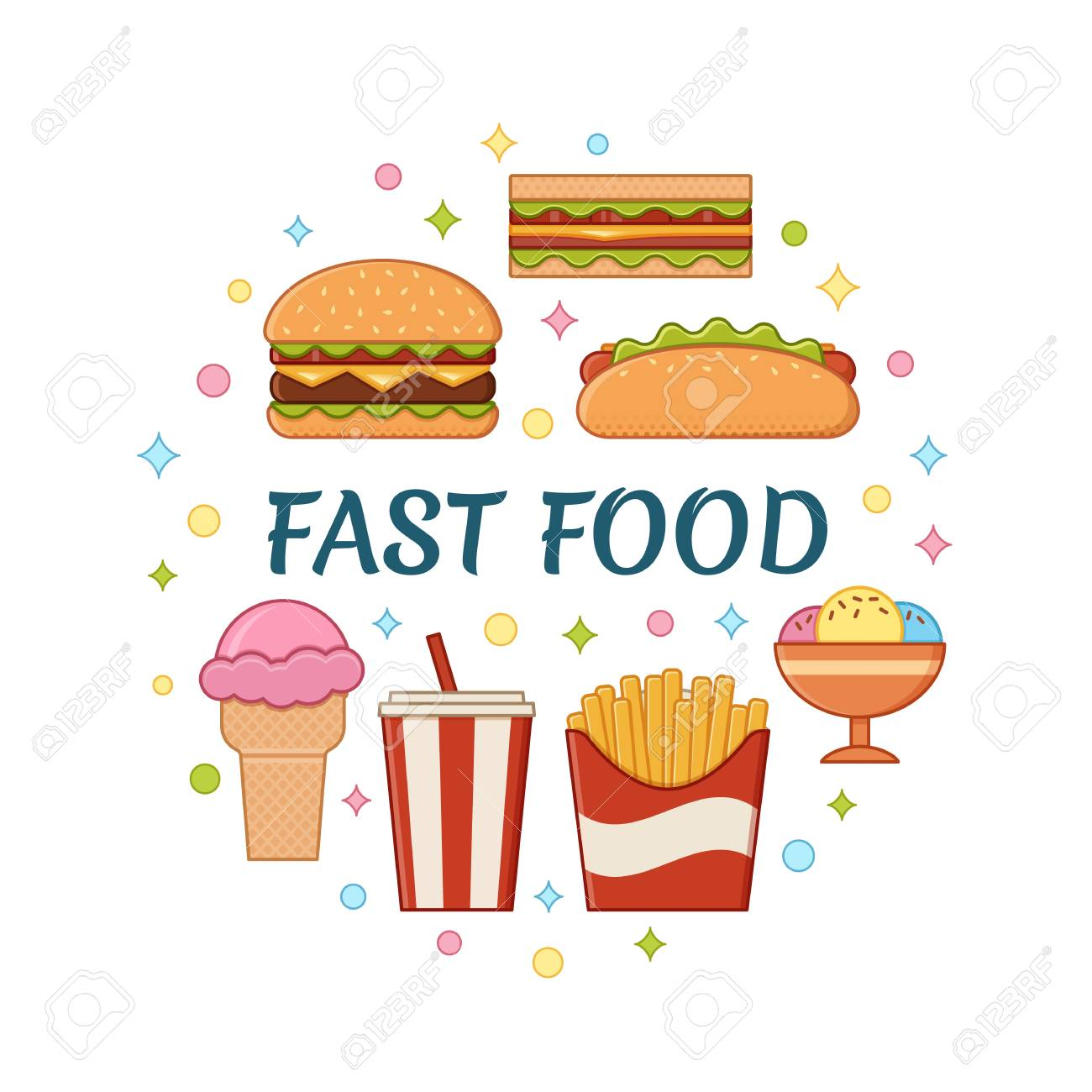 Fast Food Icons In Circle Concept With Text Vector Set Unhealthy