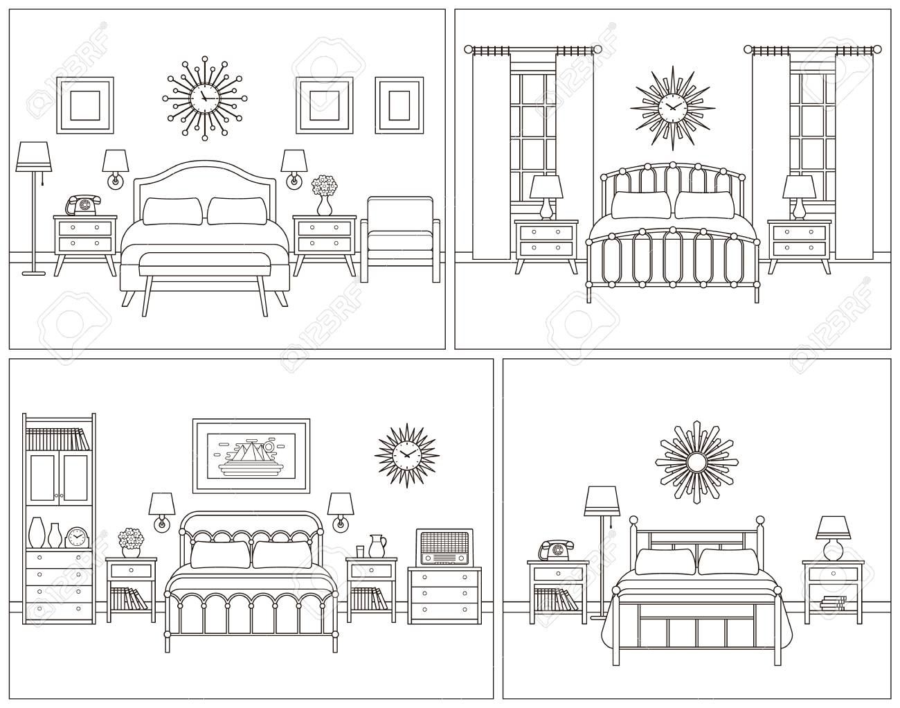 Room Interior Hotel Bedroom With Bed Vector Linear Illustration Royalty Free Cliparts Vectors And Stock Illustration Image 97449079