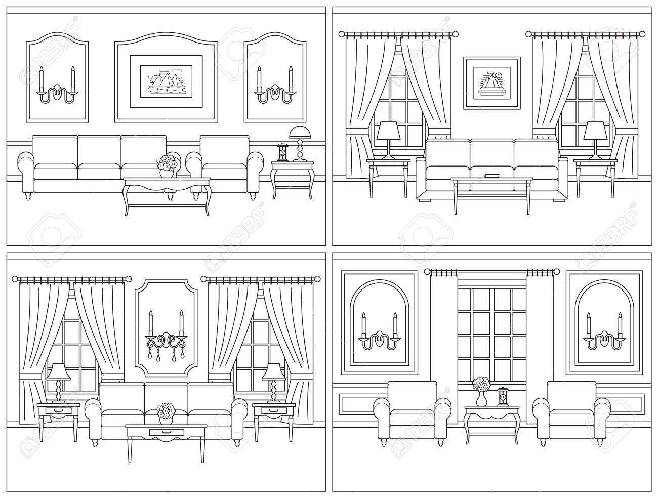 Living Room Interior. Vector Room. Set Interiors. Home Line Art ...
