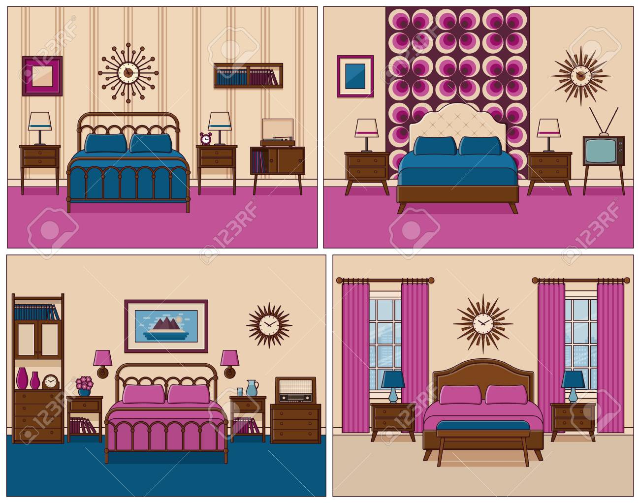 Bedroom Interior. Hotel Rooms With Bed. Vector. Linear Flat Design on 1870's house designs, western house designs, 80's house designs, 1960 home plans and designs, usa house designs, 60s style house designs, late 1800s house designs, victorian house designs, vietnam house designs, jazz house designs, beach house designs, 1960s middle class houses, disney house designs, architectural house designs, 1990s house designs, 1960s construction, 1930 house designs, horror house designs, 1960s bedroom, 1960s graphic design,