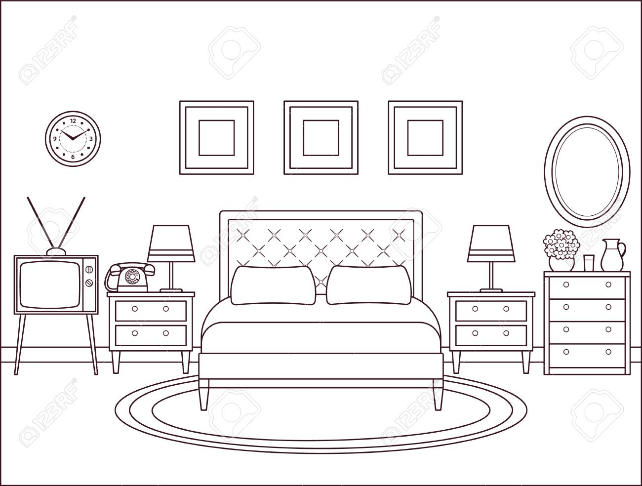 Bedroom Interior Hotel Retro Room With Bed Vector Outline