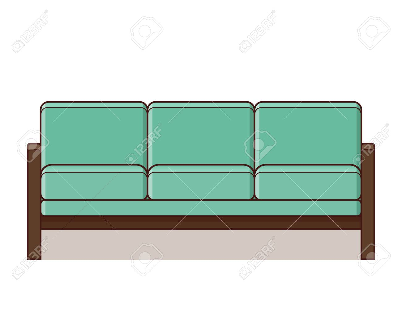 Sofa Icon Vector Couch Sign In Flat Design Furniture In Mint