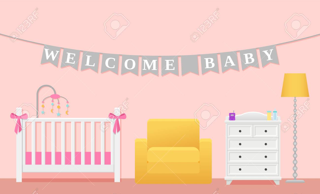 Baby Room Interior. Vector. Kids Childrens Bedroom For Baby Girl ...