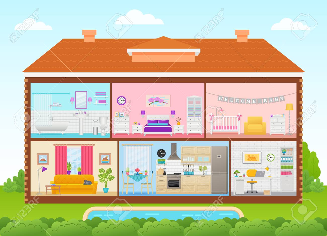 House Interior Vector House Inside In Cut With Roof Pool Royalty Free Cliparts Vectors And Stock Illustration Image 110398738
