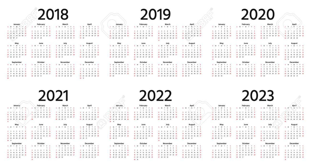 Calendar 2018, 2019, 2020, 2021, 2022, 2023 year. Vector. Week starts Sunday. Stationery 2019 vertical template in simple minimal design. Yearly calendar organizer for weeks. Portrait orientation. - 109844923
