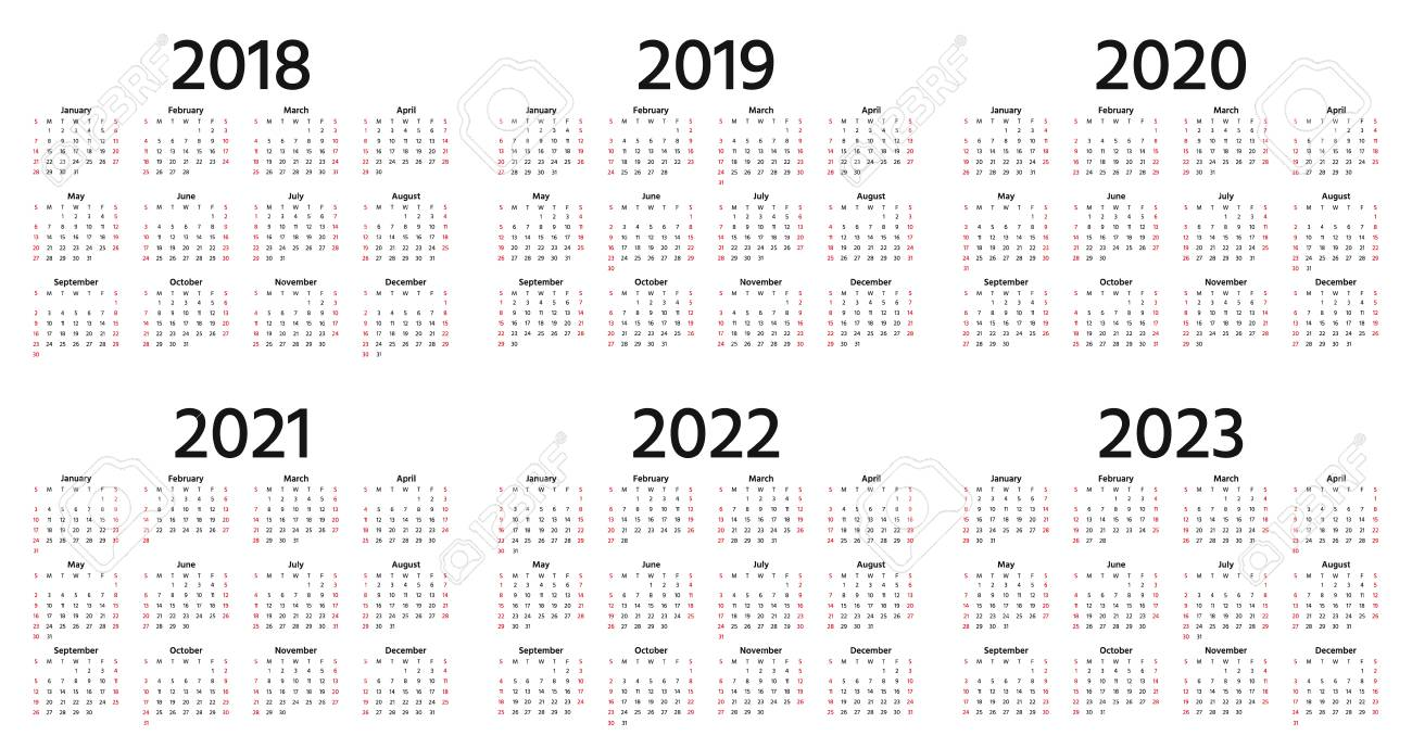 University Of Michigan Calendar 2022 2023.Calendar 2018 2019 2020 2021 2022 2023 Year Vector Week Royalty Free Cliparts Vectors And Stock Illustration Image 109844923