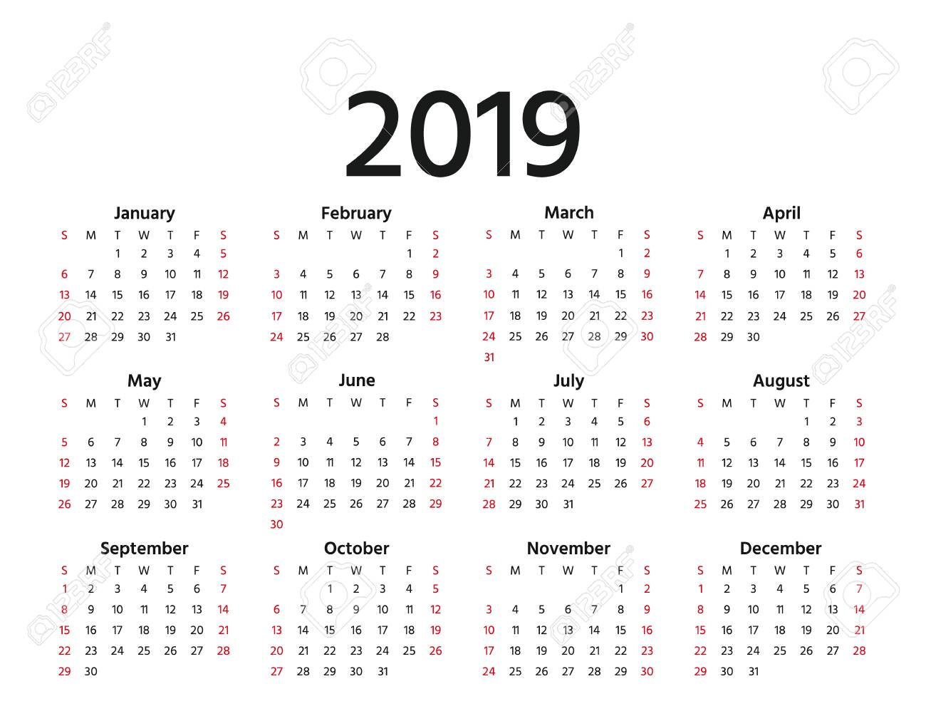 Calendar 2019 With Weeks 2019 Calendar. Vector. Week Starts Sunday In Minimal Simple Style