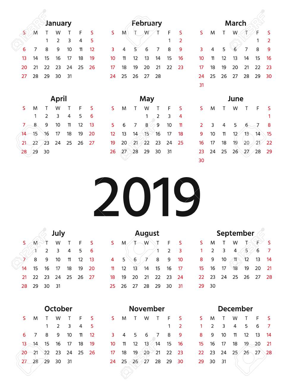 2019 calendar vector week starts sunday in minimal simple design stationery 2019 year
