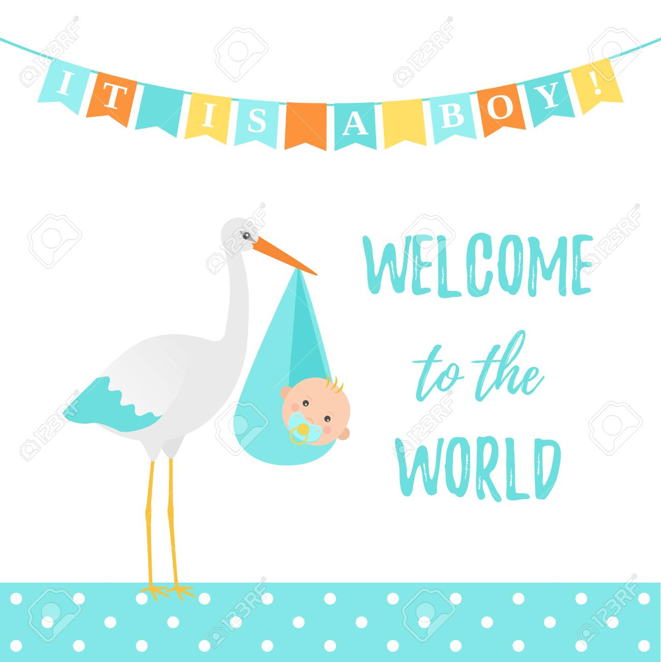 Baby Shower Boy Card Vector Cute Blue Banner With Stork Kid