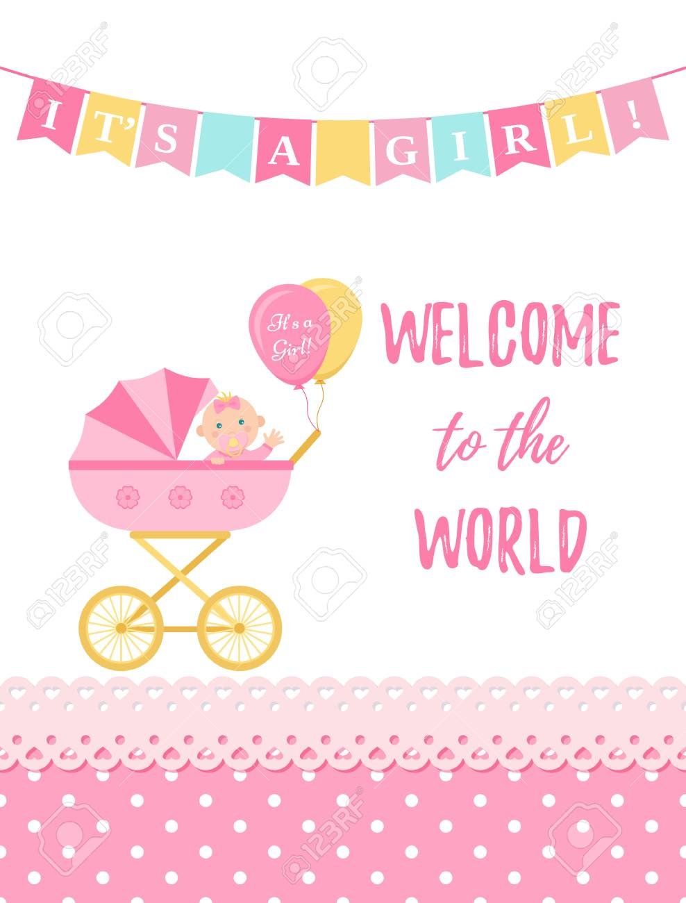 Baby Shower Girl Card Vector Baby Girl Design Cute Pink Banner Royalty Free Cliparts Vectors And Stock Illustration Image 127459247