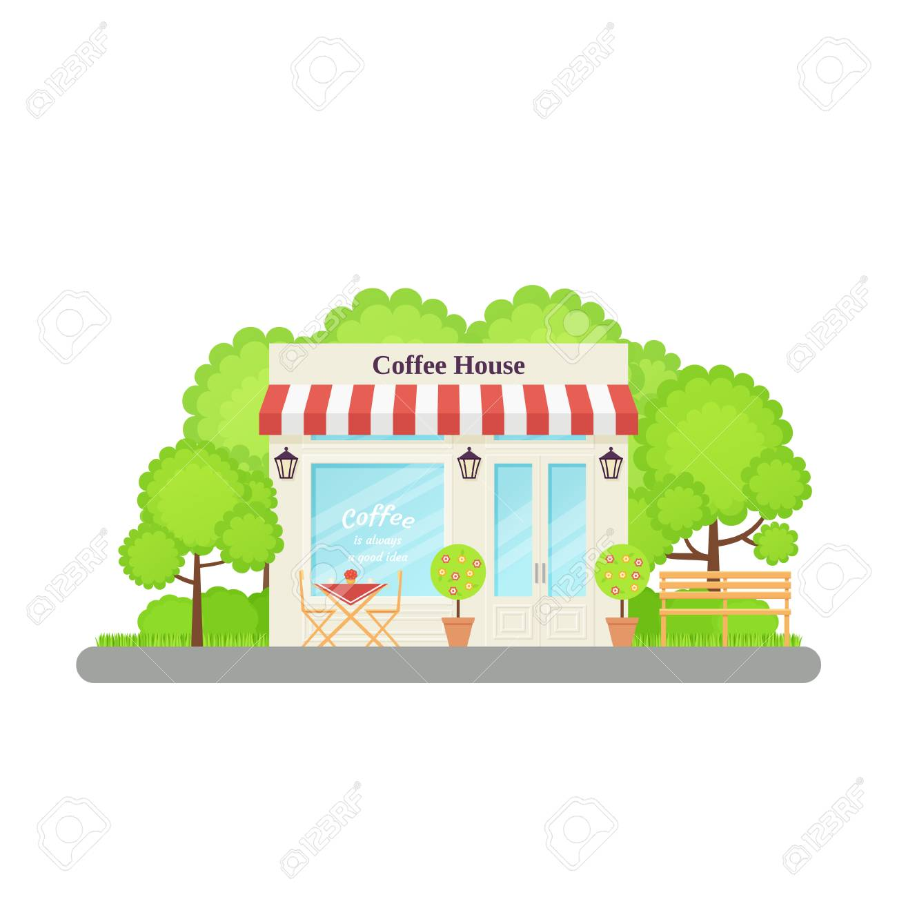Cafe Shop Vector Coffee House Restaurant Store Front Storefront Royalty Free Cliparts Vectors And Stock Illustration Image 115347960