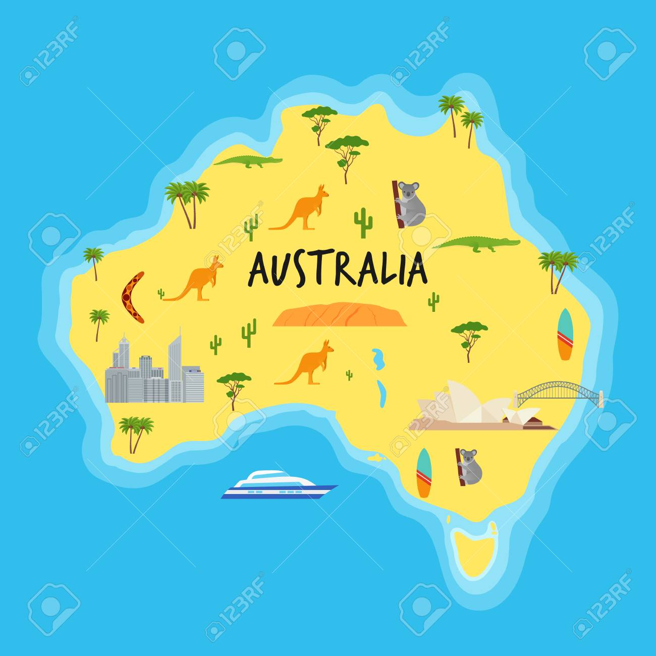 Australia Travel Map.Australia Cartoon Map Vector Australian State With Travel Icons