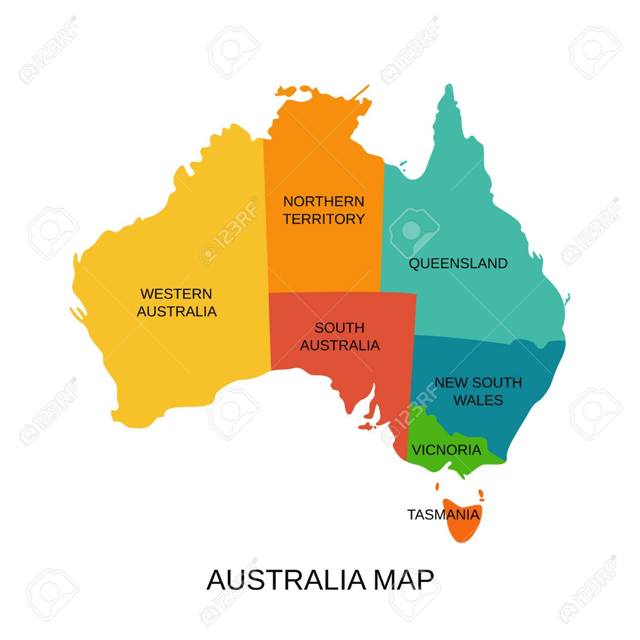 Australia map with regions. Vector. Australian state Western,..