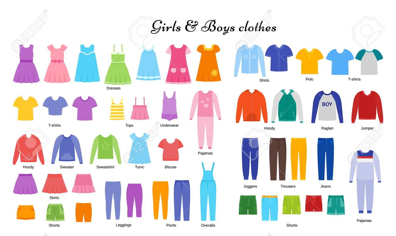 e0101114e Baby Clothes. Vector. Kid Models. Children Clothing Set. Girl ...