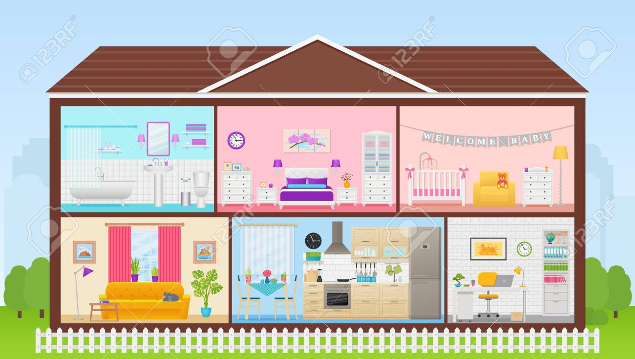 House Interior Vector Cartoon House Cross Section Home Inside Royalty Free Cliparts Vectors And Stock Illustration Image 121941935