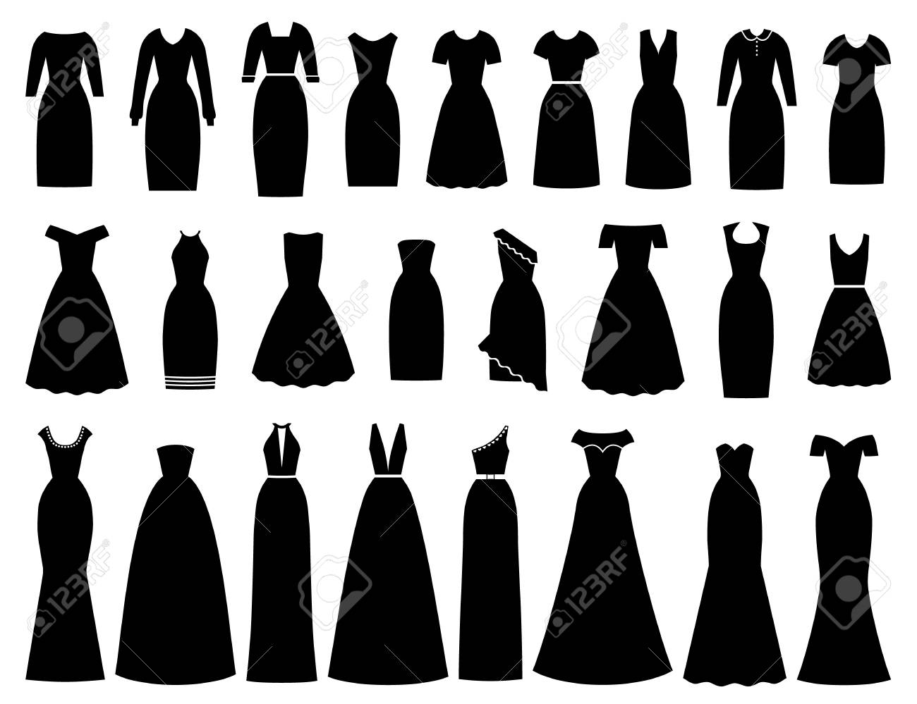 Dress icon for women. Vector. Evening, cocktail, business dresses. Black silhouette apparel set isolated. Collection girl clothing. Female textile garment on white background Illustration, flat design - 121941943
