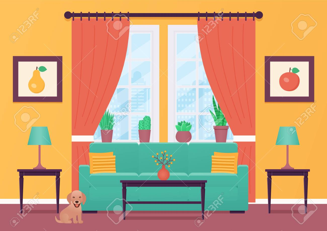 Living Room Interior Vector Room With Furniture Home Lounge Royalty Free Cliparts Vectors And Stock Illustration Image 121941942