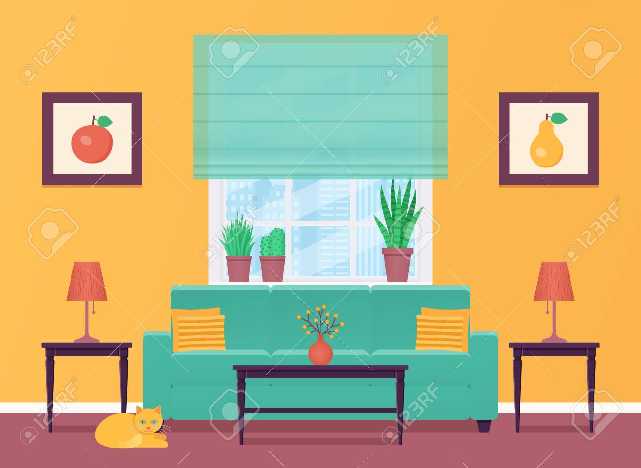 Living Room Vector Room Interior With Furniture Home Lounge Royalty Free Cliparts Vectors And Stock Illustration Image 121941941