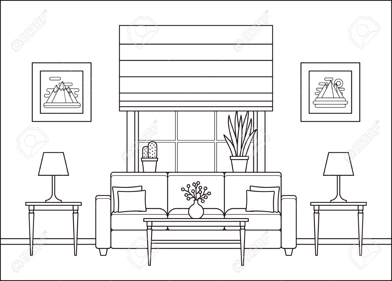 Living room interior. Linear room with window in flat design. Vector. Outline background. Home space with furniture in line art. Lounge line illustration. Cartoon house equipment. Coloring page. - 121941953
