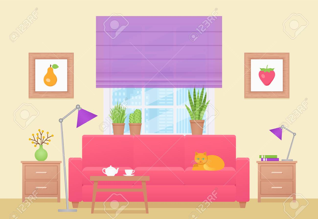 Room Interior Vector Living Room With Furniture Home Lounge