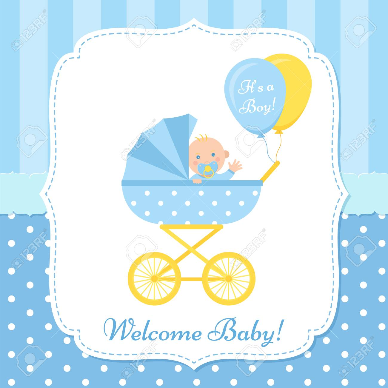 Baby Boy Invite Card Vector Baby Shower Banner Blue Design