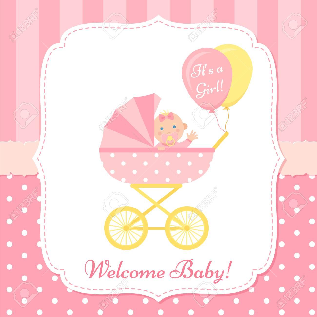 Baby Girl Invite Card Vector Baby Shower Banner Pink Design