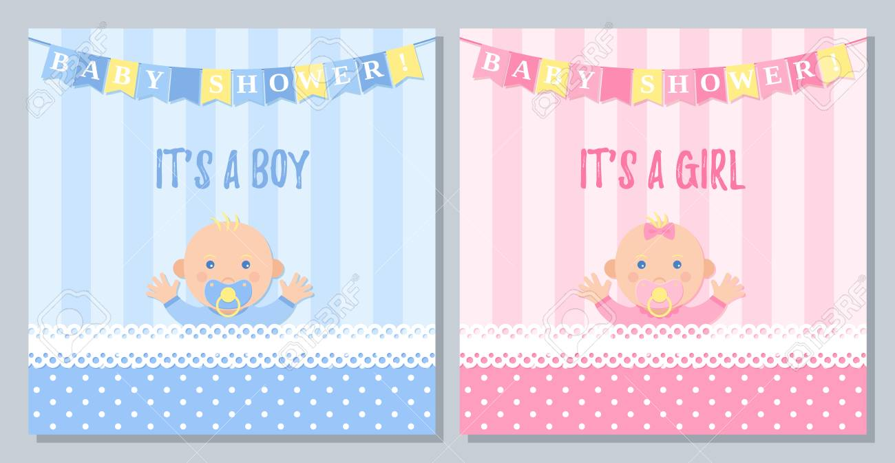 Baby Shower Card Vector Baby Girl Boy Invite Banner Pink Blue Royalty Free Cliparts Vectors And Stock Illustration Image 121942051